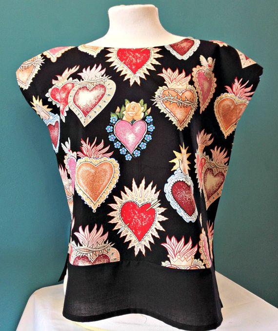 """Huipil """"Alma y Corazón"""" black blusa mexicana folk Sagrado Corazón Frida Kahlo blusa negra camisa de verano Alexander Henry pinup style top"""