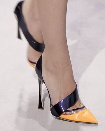 Christian Dior shoes from their 2013 runway. This is so my style. I never EVER buy shoes with straps around my ankle, I feel it makes my legs look shorter. My fancy shoes have similar style with this shoe: the strap at that same point of the foot and they are pointy....That tiny detail makes my legs look thinner and longer.