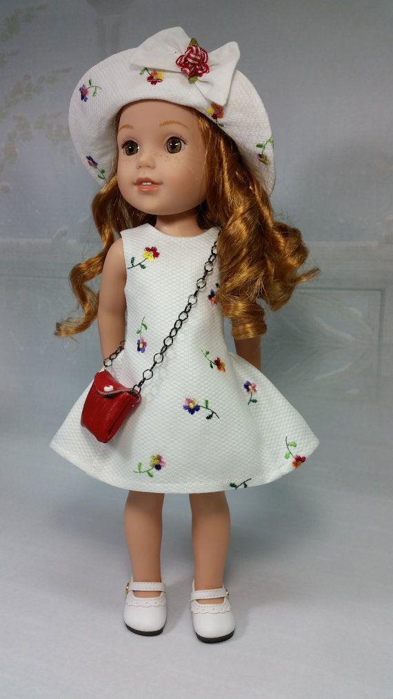 Wellie Wisher Embroidered Party Dress with Brimmed Hat and Crossover Purse, American made to fit 14 1/2 Inch Girl Dolls