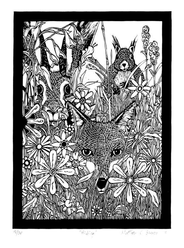 Lino prints - Matthew Carey Simos  - Hidden