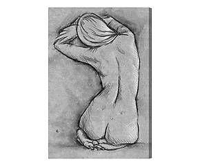 Stampa su canvas su legno Nude in Gray - 41x61x4 cm