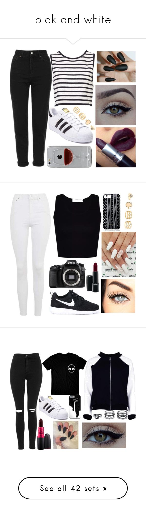 """blak and white"" by sofiacatania13 on Polyvore featuring Topshop, adidas, xO Design, LULUS, Reyes, Eos, NIKE, Savannah Hayes, MAC Cosmetics e Boohoo"