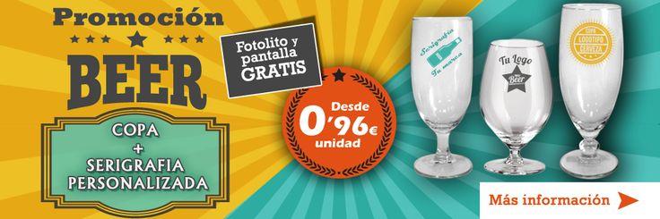 Oferta de Vitriglass de copas de cerveza más serigrafía personalizada a un color desde 0,96 euros.