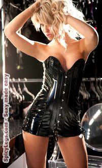 vinyl ''discipline'' corset dress  vinyl dress black