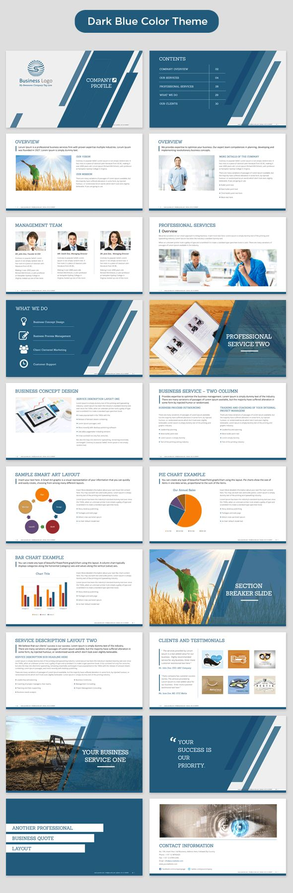 company profile powerpoint template dark blue preview                                                                                                                                                                                 More