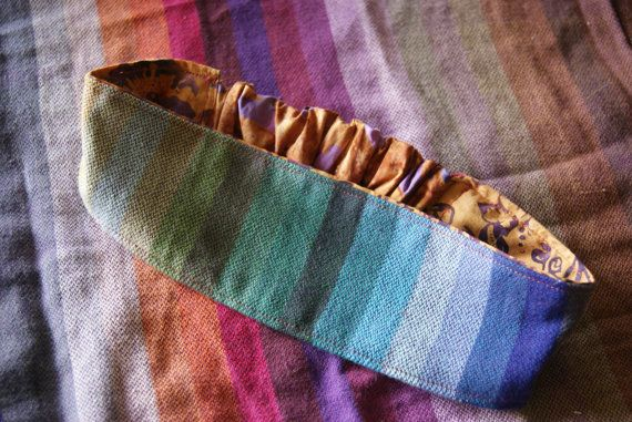 Totally Customizeable Woven  Wrap Scrap Headband . Amitola. Rainbow . Batik . Baby through Adult