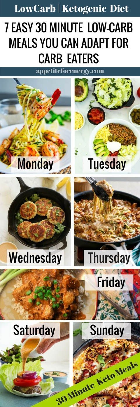 Tired of trying to keep the carb eaters in your home happy, when you follow a low-carb diet? We have you covered with 7, 30 minute meals that can be easily adapted or served to carb eaters. FOLLOW us for more 30 Minute Recipes. PIN & CLICK through to get the recipes! Ketogenic Diet Meal Plan  Keto Diet Recipes  Keto 30 Minute Recipes  Low Carb Family Meals gluten free recipes sugar free recipes  #lowcarbdiet #ketodiet #lowcarbmealplan