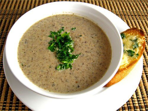 Cream of Mushroom Soup...I will be trying this one VERY soon!  Can't get enough mushrooms...
