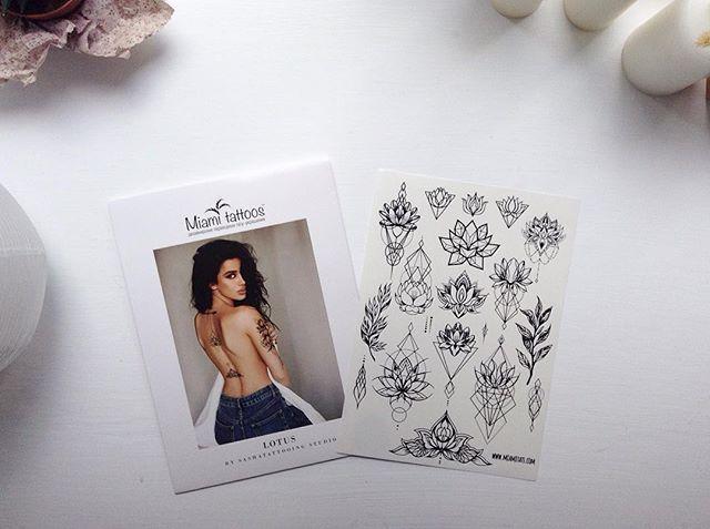 New #temporarytattoo by @miami_tattoos 🌿 #sum_ttt #dotwork #linework #lotus #lotustattoo #flower #flowertattoo