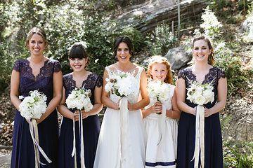 Navy lace and chiffon Bridesmaid dresses
