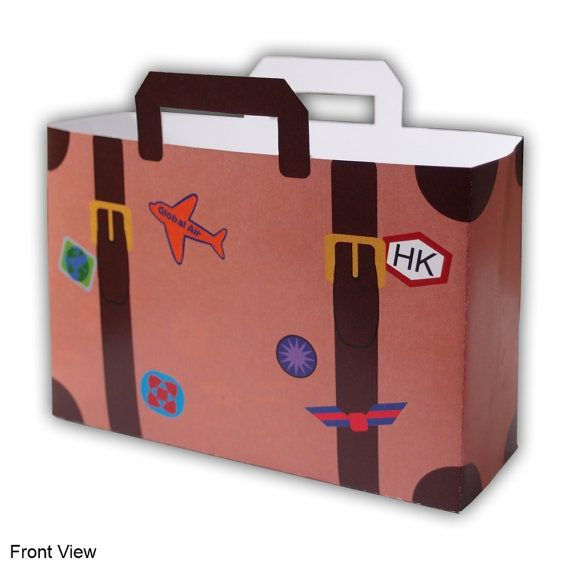 Small World Traveler Sticker Covered Large Suitcase by favormakers, $7.50