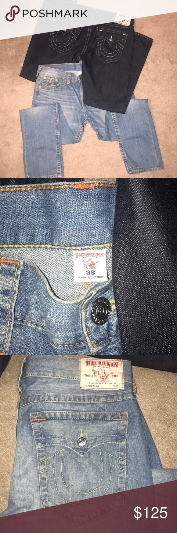 2 pairs men's 38 True Religion Men's True Religion Jeans! Minimally worn and dry cleaned both size 38 True Religion Jeans Slim