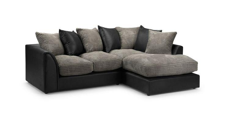 Best Byron Jumbo Cord Corner Sofa In Black Grey Or Brown Beige 400 x 300