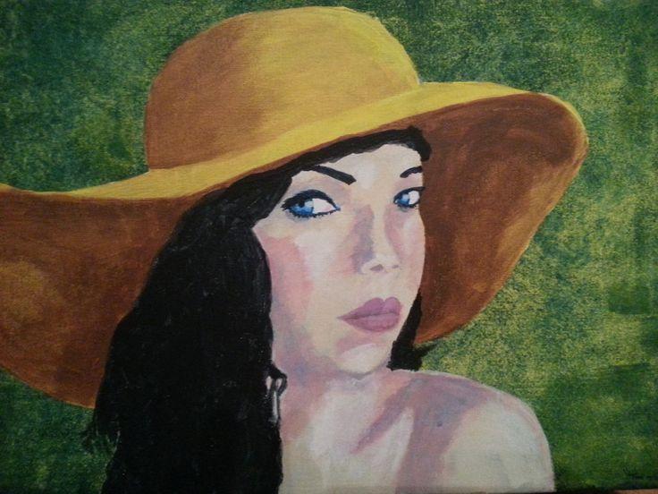 vrouw met hoed  acrylverf 30x40 op doek naar Kees van Dongen 01/2015