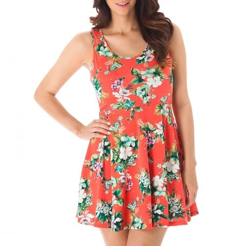 Floral Scoop Neck Dress