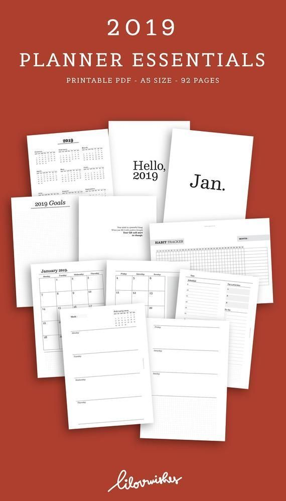 2019 Planner Essentials, 2019 Yearly Planner , 2019 Monthly Planner