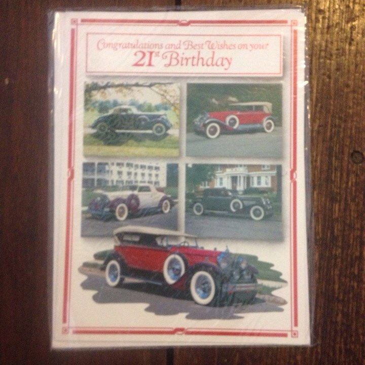 A personal favorite from my Etsy shop https://www.etsy.com/listing/237612410/vintage-twenty-first-birthday-card