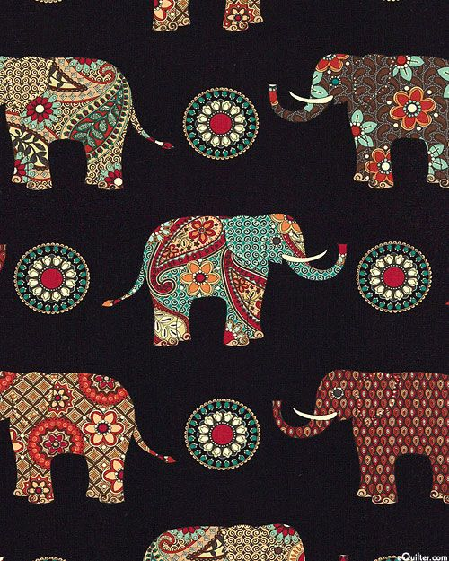 Caravan - Paisley Elephants - Quilt Fabrics from www.eQuilter.com