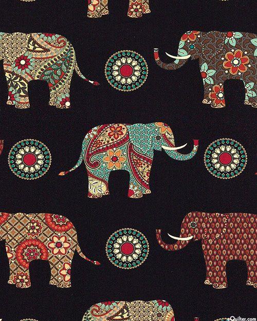 Caravan - Paisley Elephants - Quilt Fabrics from www.eQuilter.com