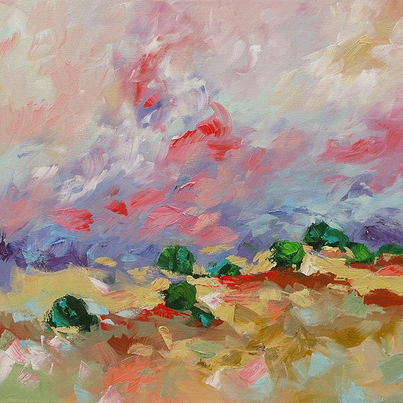 SALE Landscape Painting Original Art Abstract or Impressionist Fauve Surreal Acrylic on Canvas by Linda Monfort