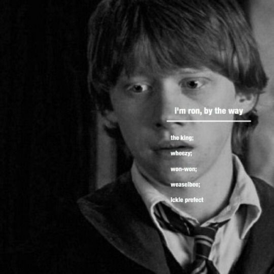 I'M RON, BY THE WAY-the king; wheezy; won-won; weaselbee; ickle prefect
