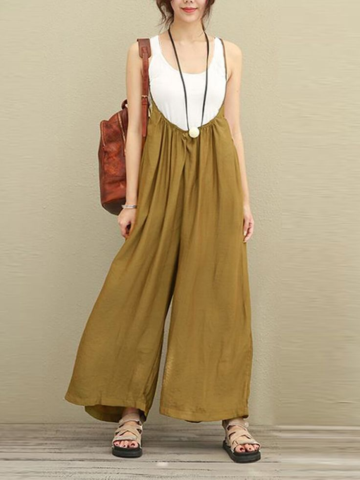 Women Casual Sleeveless Strap Baggy Wide Leg Pant Jumpsuit Rompers