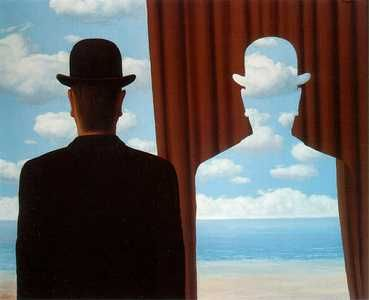 """Rene Magritte the surrealist often painted images of men with bowler hats and/or silhouettes of the man with clouds or a beach and sky scene painted within. Magritte wanted us to see positive and negative shapes and scenes in a new way. His work helps me to 'think outside (or inside as it were) the box"""""""