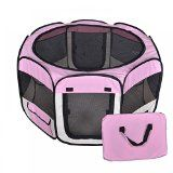 New Small Pet Dog Cat Tent Playpen Exercise Play Pen Soft Crate T08S Pink @ Sunshine JMC