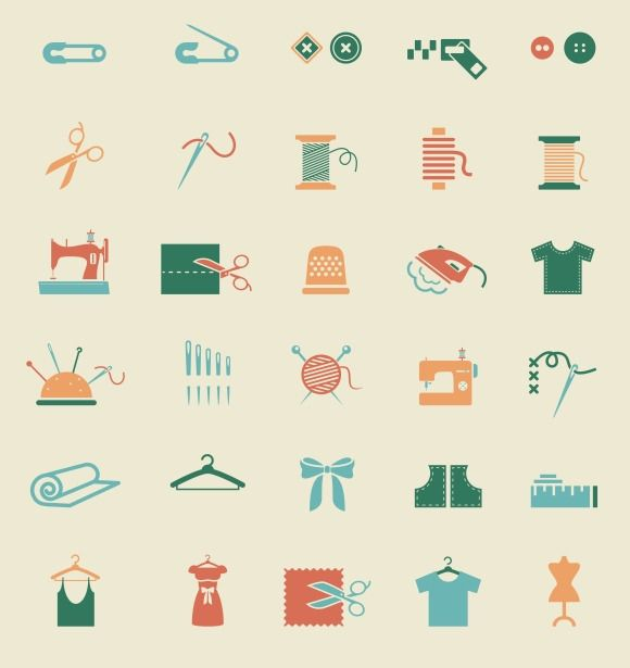 Sewing equipment & needlework icons by Microvector on @creativemarket