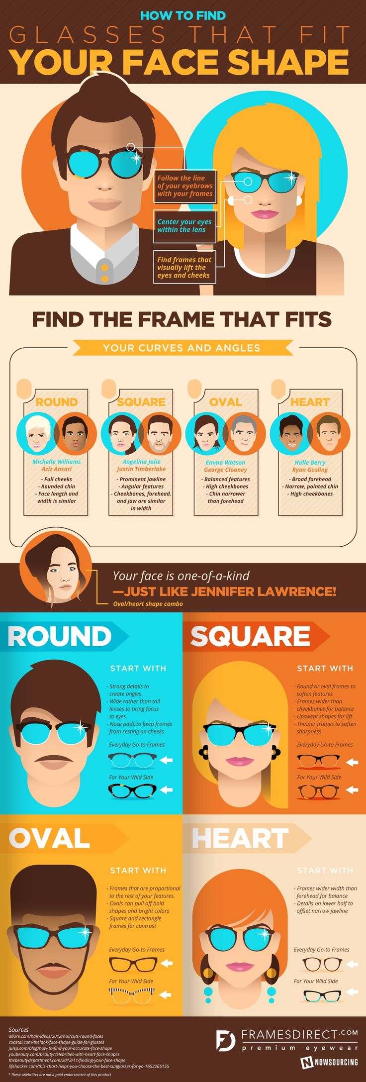 Eyeglass frames that match your face Infographic | Accesorios ...