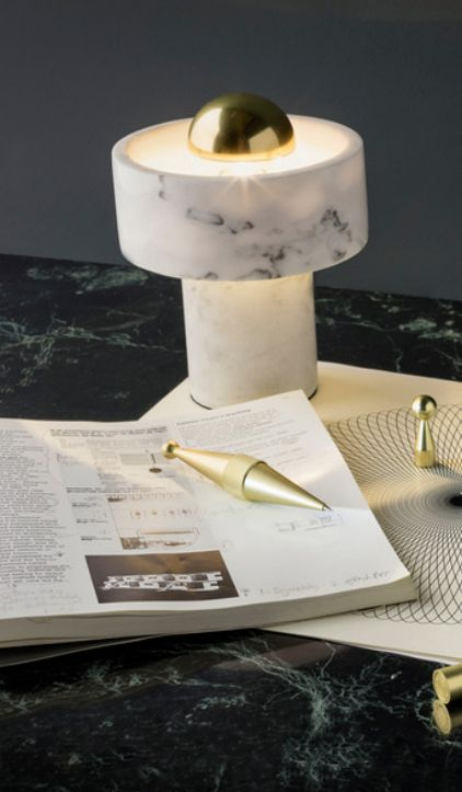 Tough yet tactile, heavy and long-lasting with individual personality - white marble is used to create the Tom Dixon Stone Table Lamp.