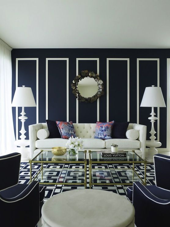 Jonathan Adler White Trousdale Lamp, Jonathan Adler Meurice 2 Tier Table, Jonathan Adler C Jere Rain Drops Mirror, white and navy blue contemporary living room! <3   #jonathanadler #shopcandelabra #inthenavy
