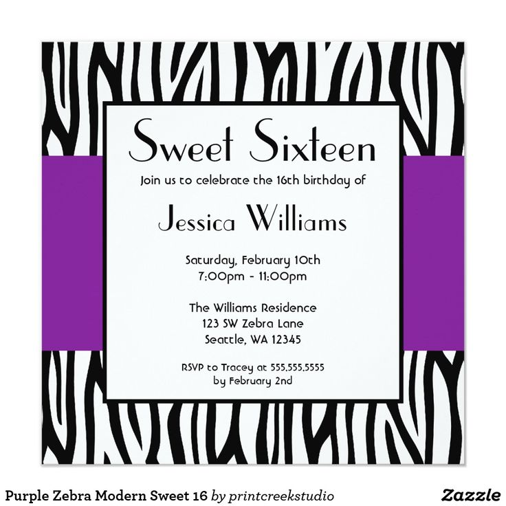 Purple Zebra Modern Sweet 16 Card Invite your guests in style with this modern purple and black zebra animal print sweet 16 invitation.