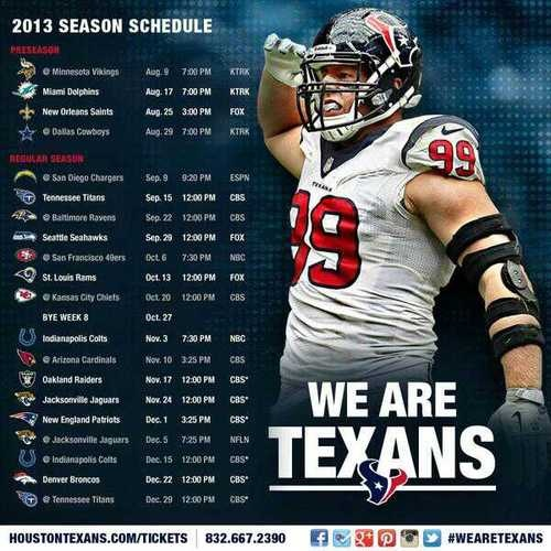 Texans 2013 schedule! 5 national TV games including preseason