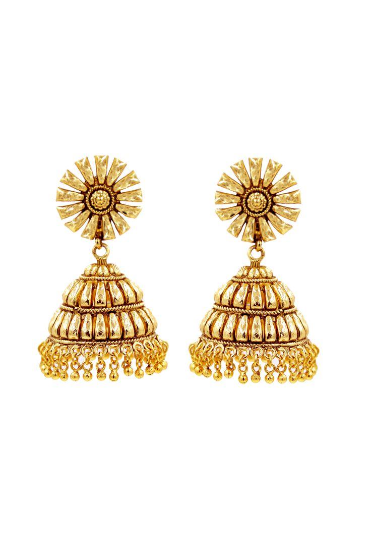 Hair accessories for wedding online india - Golden Jhumka Earring India Weddingwedding Jewelry Golden Jhumka Earring