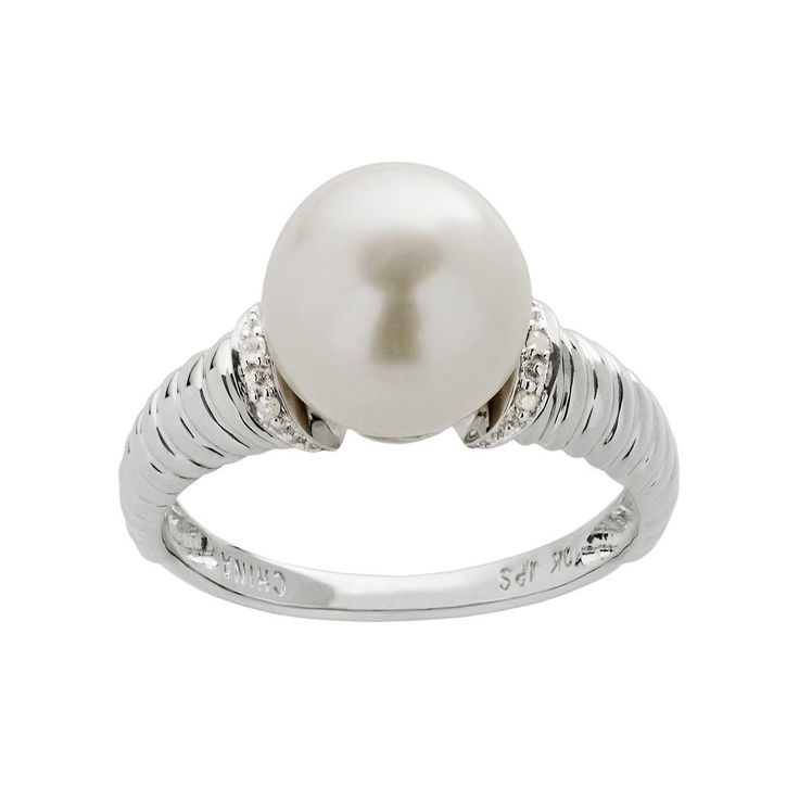 PearLustre by Imperial Freshwater Cultured Pearl and Diamond Accent 10k White Gold Ring, Women's, Size: 9