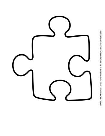 A large single puzzle piece template for decorating classroom bulletin boards.