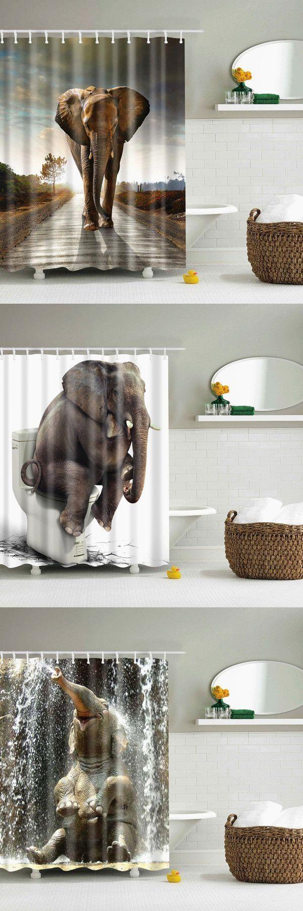 Elephant Sunset Bathroom Shower Curtain - Brown