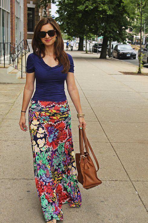 vibrant floral maxi skirt