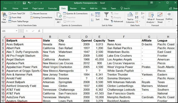 Freeze First Excel Column Excel Column Data Table