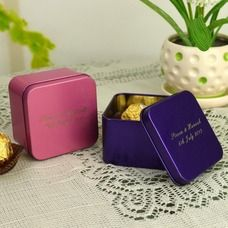 Boîte métal carré, contenant dragées, rose, bleu