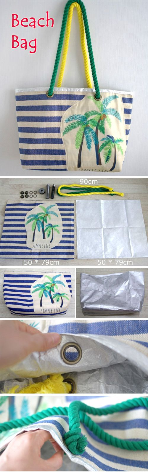 Beach bag made from fabric and waterproof foil. DIY Photo Tutorial. http://www.free-tutorial.net/2016/12/hawaiian-beach-bag.html