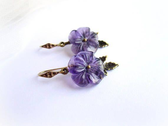 Amethyst flower earrings purple flower earrings gemstone