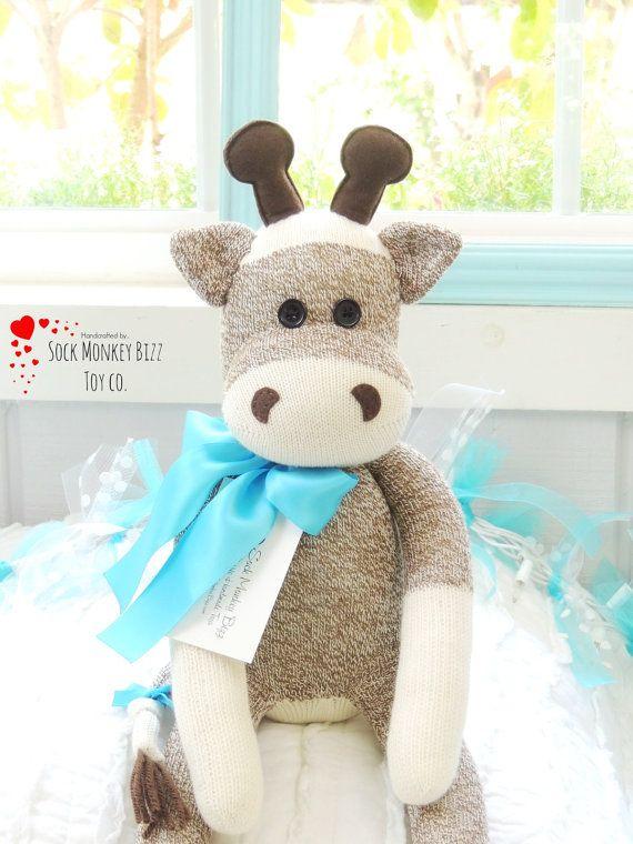 Kid's Toy Stuffed Giraffe Sock Monkey Doll by SockMonkeyBizzToyCo
