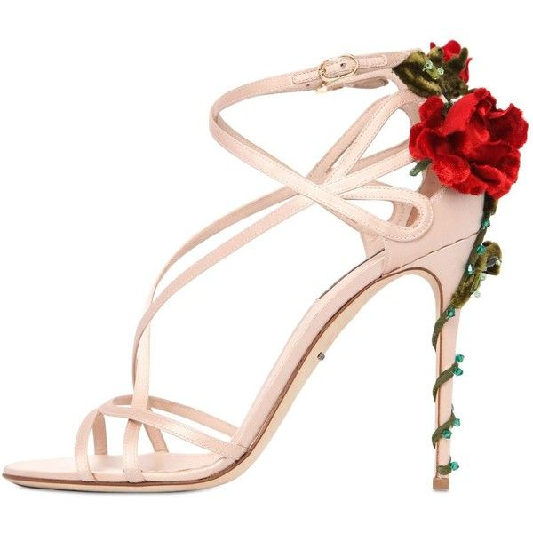 DOLCE & GABBANA 105mm Keira Roses On Silk Satin Sandals ($1,395) ❤ liked on Polyvore featuring shoes, sandals, heels, high heels, blush, high heel sandals, rosette shoes, leather sole shoes, high heel shoes and heeled sandals