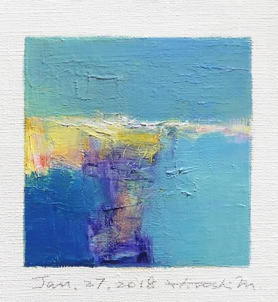 Jan. 27 2018 Original Abstract Oil Painting 9x9 painting