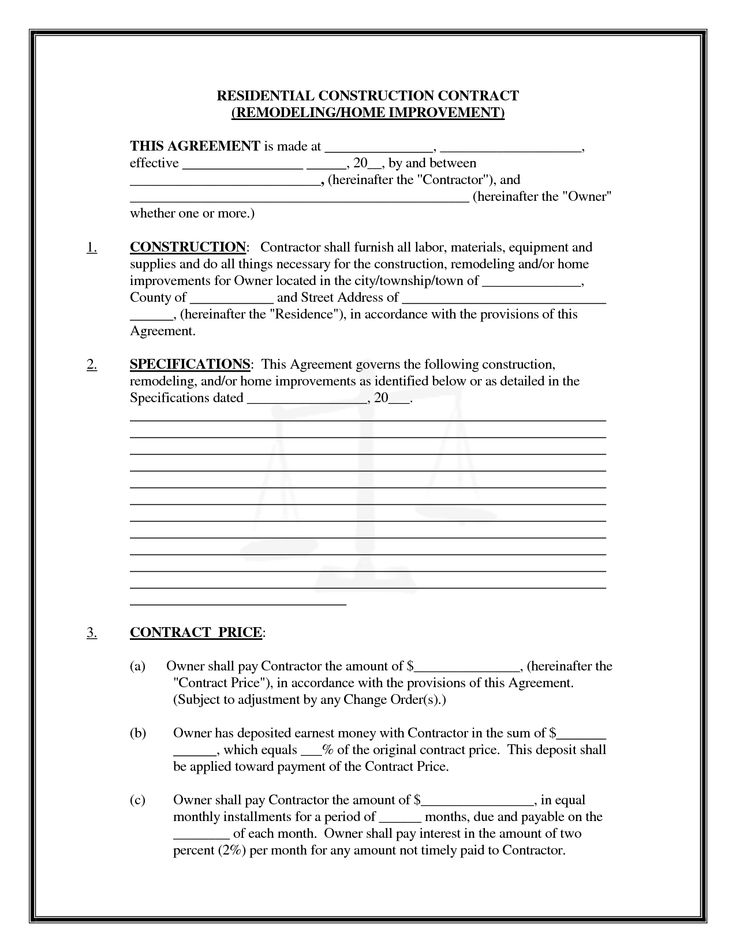 Construction Contract Agreement Residential Construction Contract - free sample construction contract