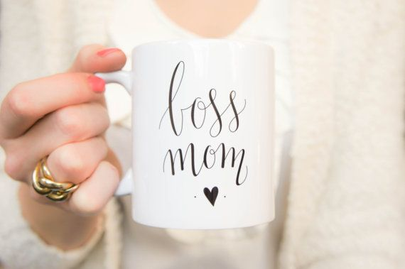 Boss Mom Coffee mug.  A mug for the mom bosses out there. Whether it will be you or your hustling friend, this mug reminds you exactly what you are! Youre a total boss. Being a mom is hard enough, being a mom and a boss at the same time is very rewarding but it seems nearly impossible at times. Just fill this up and take a deep breath.  (ad)