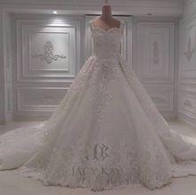 Vestido de Baile 2016 Dubai Vestido 3D Flor Do Laço Nupcial de Vestidos de Casamento Robe De Mariage(China (Mainland))