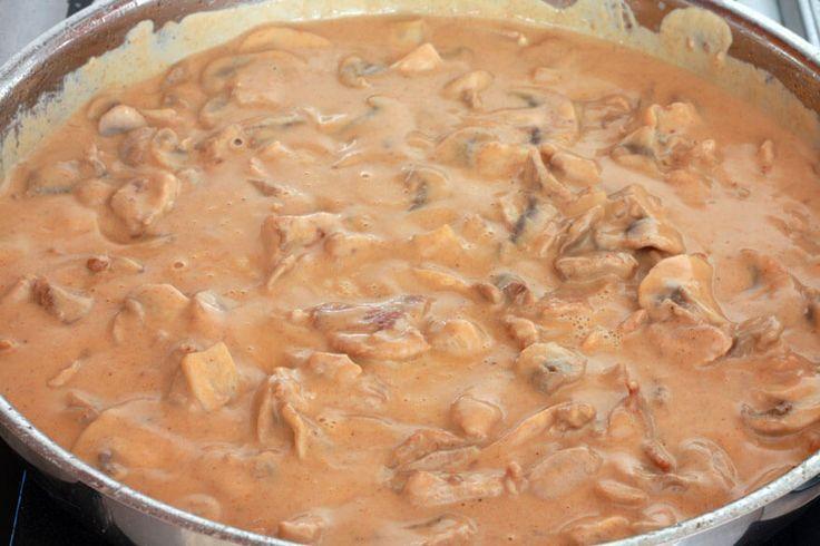Geschnetzeltes 'Creamy Hunters Sauce'(Mushroom Sauce) served over egg noodles or mashed potatoes. Serve along side German Pork Schnitzel,, Yum